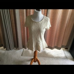 Women's Bobeau Cream Lace Peplum Top